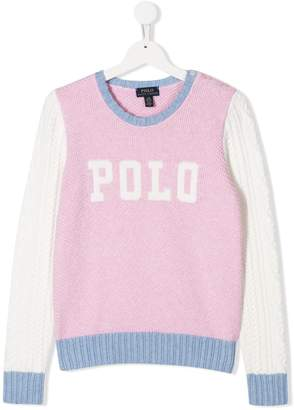 Ralph Lauren Kids TEEN colour-block logo jumper