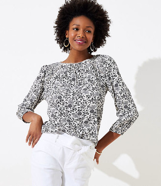 LOFT Floral Lacy Cutout Mixed Media Top