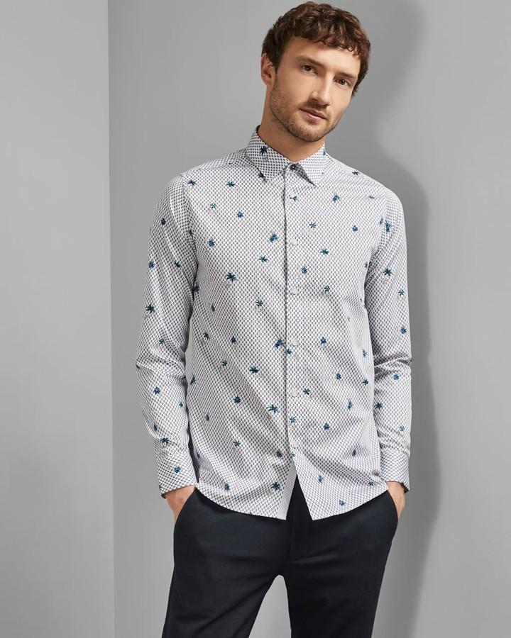Ted Baker Long Sleeved Floral Geo Print Shirt