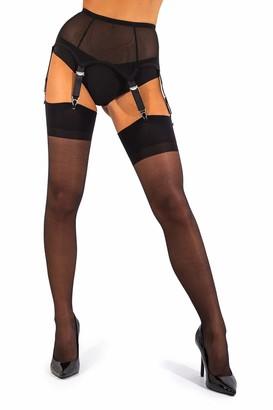 sofsy Sheer Thigh High Stockings for Garter Belt/Suspender Belt 15Den [Made In Italy] (Garter Belt Not Included) Black 2 - Small
