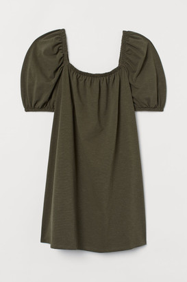 H&M H&M+ Puff-sleeved Dress - Green