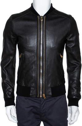 Dolce & Gabbana Black Leather Zip Front Bomber Jacket S