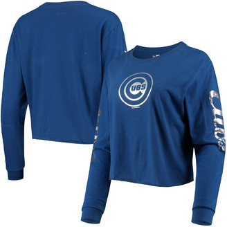 New Era Women's Royal Chicago Cubs Baby Jersey Long Sleeve Cropped T-Shirt
