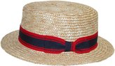 Jeanne Simmons Unisex Straw 2 Inch Brim Grosgrain Band Boater Hat