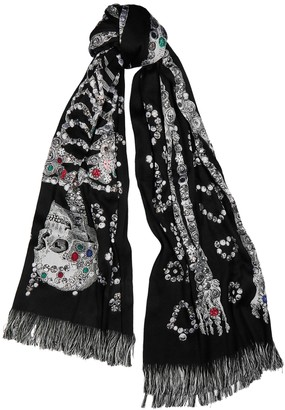 Alexander McQueen Pearly Skeleton jacquard wool-blend scarf