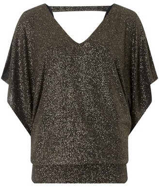 Dorothy Perkins Womens Billie & Blossom Tall Gold Batwing Top, Gold