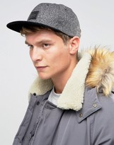 Asos Snapback Cap In Monochrome Melton Mix With Contrast Peak