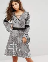 Rock & Religion Paisley Lace Up Front Swing Dress