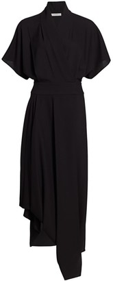 The Row Talisa Asymmetric Wool Draped Maxi Dress