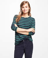 Brooks Brothers Striped Jacquard Eyelet Top