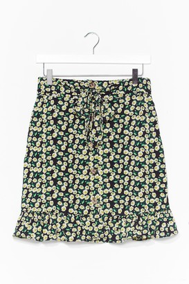 Nasty Gal Womens DAISY PRINT RUFFLE MINI SKIRT - Black - S, Black