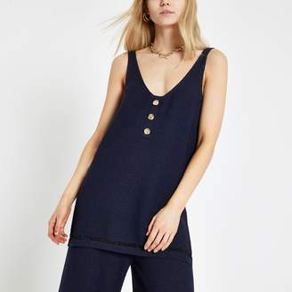 River Island Womens Navy glitter V neck vest