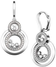 Chopard Stacked Circle Drop Earrings with Diamonds in 18K White Gold