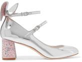 Sophia Webster Lilia Bow-embellished Mirrored-leather Mary Jane Pumps - Silver