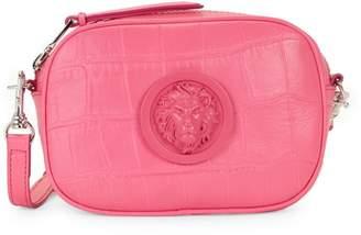 Versace Lion Logo Croc-Embossed Leather Crossbody Bag