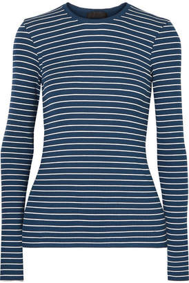 ATM Anthony Thomas Melillo Striped Ribbed Stretch-micro Modal Top - Storm blue