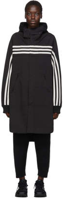 Y-3 Black Gabardine 3-Stripe Shirt Coat