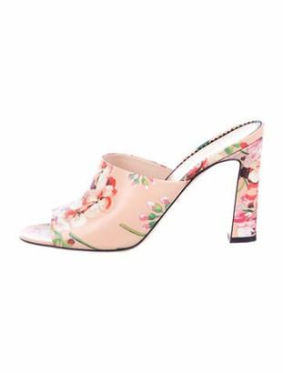 Gucci Leather Floral Print Slides Pink
