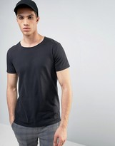 Solid T-shirt In Oil Wash With Raw Neckline