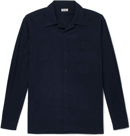 Camoshita Camp-Collar Cotton-Flannel Shirt