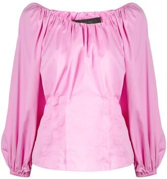 FEDERICA TOSI Gathered Silk-Cotton Blend Balloon-Sleeve Blouse
