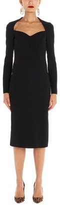 Dolce & Gabbana Long Sleeved Sweetheart Midi Dress