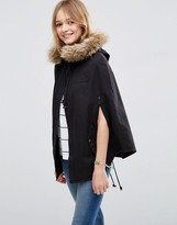 Asos Parka Cape With Faux Fur Hood