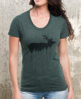 Etsy Women's T-Shirt - Elk Above Tree Line - Women's American Apparel Women's T-Shirt - Heather Forest