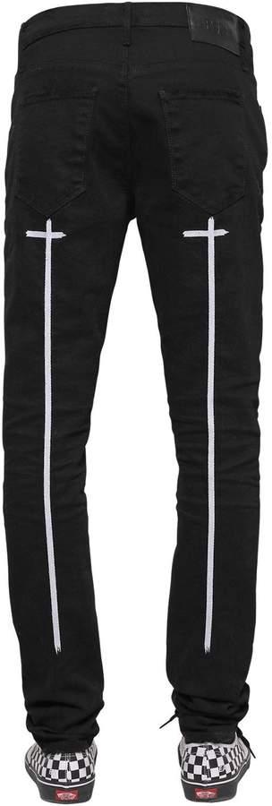 RtA 16.5cm Skinny Crosses Print Denim Jeans