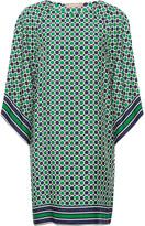 Michael Kors Printed Silk-twill Mini Dress - Green