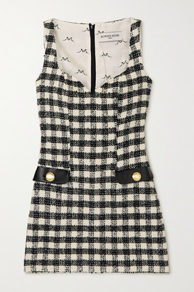 ROWEN ROSE Faux Leather-trimmed Checked Tweed Mini Dress - Black