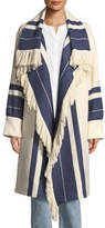 Chloé Fringed Striped Cotton-Wool Blanket Coat