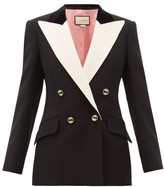 Gucci Peak-lapel Double-breasted Silk-blend Blazer - Womens - Black White