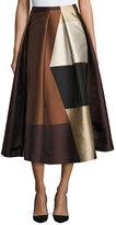 Co Geometric Colorblock Pleated Midi Skirt, Brown
