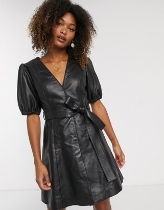 Y.A.S leather v neck mini dress with volume sleeve