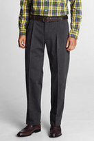 Lands' End Men's Pre-hemmed Pleat Front Comfort Waist No Iron Chino Pants-Silver Frost