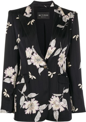 Etro Floral-Print One Button Blazer