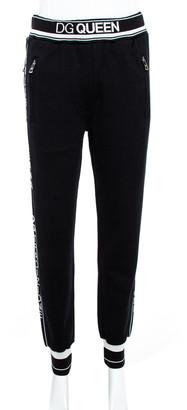 Dolce & Gabbana Black Cotton Queen Track Jersey Trouser XS