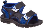 Rugged Bear Boys' Sandals Black - Black & Blue Paw-Print Double-Strap Sandal - Boys