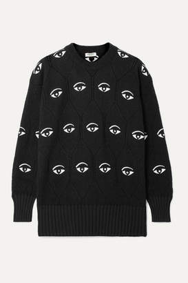 Kenzo Embellished Embroidered Jacquard-knit Sweater - Black