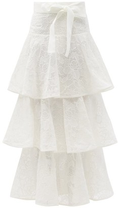 Zimmermann Lovestruck Ruffled Cotton Floral-lace Skirt - White