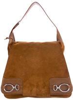 Balenciaga Leather-Trimmed Suede Shoulder Bag