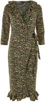 Topshop Flower Garden Ruffle Midi Wrap Dress