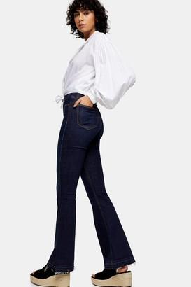 Topshop Indigo Split Hem Jamie Flare Skinny Jeans