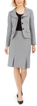 Le Suit Jacquard Three-Button Skirt Suit
