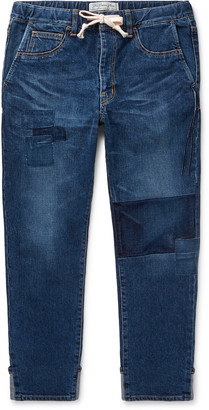 Remi Relief Slim-Fit Tapered Cropped Patchwork Denim Drawstring Jeans