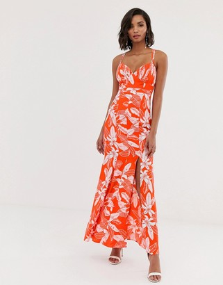 Y.A.S floral fishtail maxi dress