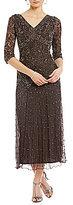 Pisarro Nights Petite Beaded Lace Gown