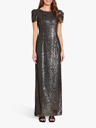 Adrianna Papell Long Sequin Dress with Pintuck Sleeves, Black/Gold