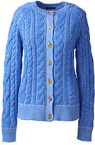 Classic Women's Petite Cotton Cable Trim Cardigan Sweater-Sea Cliff Blue Marl